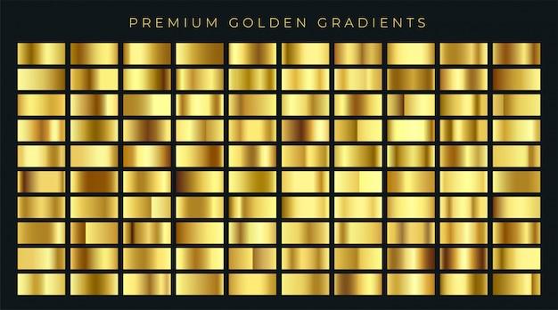 Riesige große sammlung von goldenen farbverläufen hintergrund farbfelder