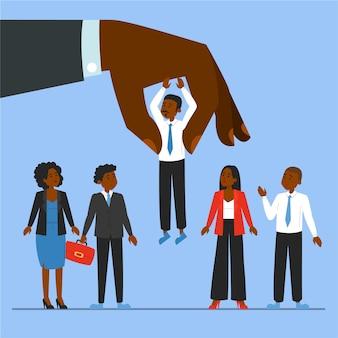 Riesige hand, die einen kandidaten für einen job auswählt