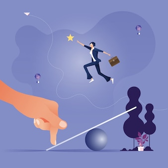 Riesige hand hilft geschäftsfrau, von der wippe zu springen, um das star-business-konzept zu entwickeln