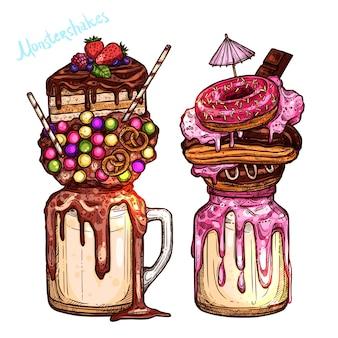Riesige milchshake-schokolade und süßigkeiten