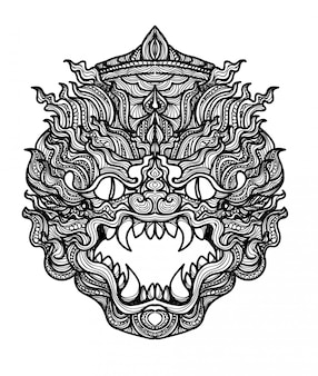 Riesige thailändische zeichnung und skizze der tätowierungskunst handschwarzweiss