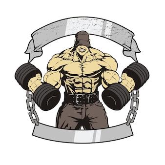 Riesiger bodybuilder mit hanteln, die übungen machen