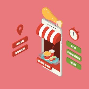 Riesiger isometrischer smartphone mit hühnerbeinzeichen und eimersatz des gebratenen huhns
