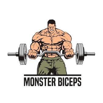 Riesiger muskulöser mann mit ez langhantel, der bizepslocken tut