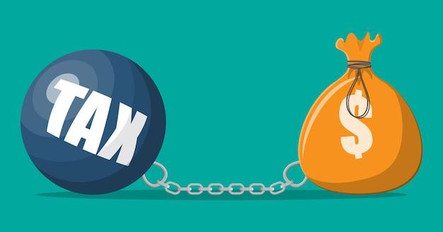 Riesiges steuerbelastungskonzept. stoffbeutel mit dollarzeichen. geldsack und gewichtsball. steuern, schulden, gebühren, krise und konkurs. vektorillustration im flachen stil