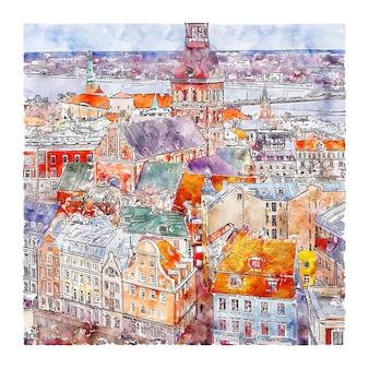 Riga lettland italien aquarellskizze handgezeichnete illustration