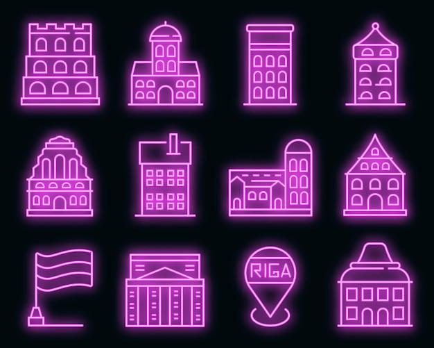 Riga-symbole gesetzt. umrisse von riga-vektorsymbolen neonfarben auf schwarz