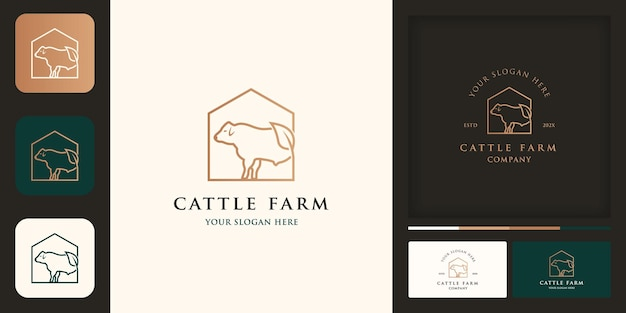 Rinderfarm-logo, modernes vintage-logo und visitenkarte