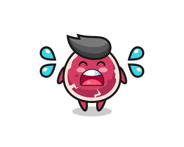 Rindfleisch-cartoon-illustration mit weinender geste, süßes design für t-shirt, aufkleber, logo-element