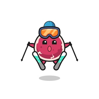 Rindfleisch-maskottchen-charakter als skispieler, süßes stildesign für t-shirt, aufkleber, logo-element