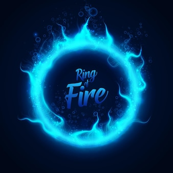 Ring aus blauem unterwasserfeuer mit blasen.