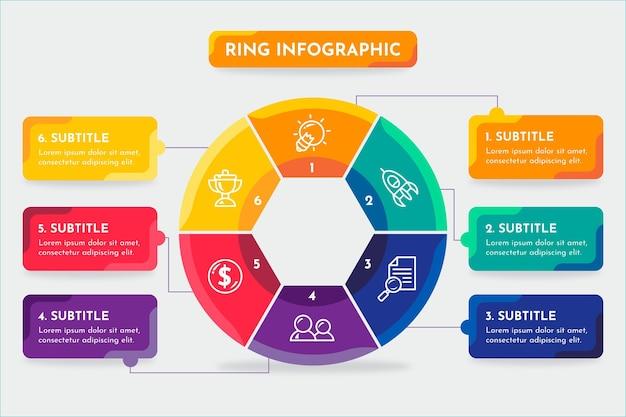 Ring infografik mit farben und text