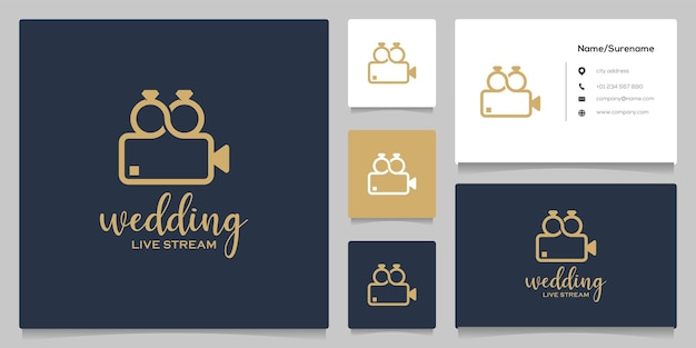 Ring verbinden hochzeits- und kinokamera-logo-design mit visitenkarte
