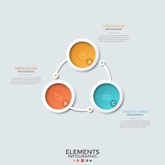 Ringartiges diagramm. drei mehrfarbige kreisförmige papierelemente mit linearen symbolen und buchstaben im inneren, die durch linien verbunden sind. ungewöhnliche infografik-design-vorlage. zur präsentation.