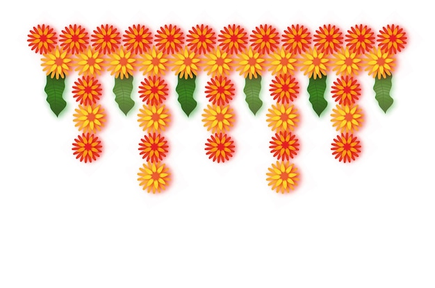Ringelblume. grüne blattgirlande. gelbe orange papierschnittblume. indische festivalblume und mangoblatt. glückliches diwali, dasara, dussehra, ugadi. dekorative elemente für indische feier. vektor.