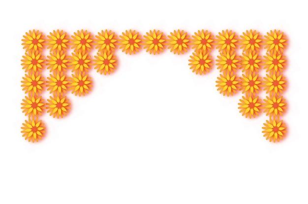 Ringelblumengirlande. gelbe orange papierschnittblume. indische festivalblume und mangoblatt. glückliches diwali, dasara, dussehra, ugadi. dekorative elemente für indische feier. vektor