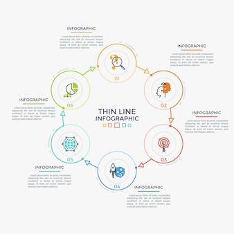Ringförmiges diagramm mit 6 bunten runden elementen, zahlen und linearen symbolen, die durch pfeile verbunden sind. konzept des geschlossenen wirtschaftskreislaufs mit sechs stufen. einfache infografik-design-vorlage. vektor-illustration.