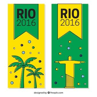 Rio 2916 banner mit christus, dem redemmer und palmen