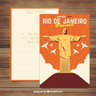 Rio de janeiro postkartenschablone mit flachem design