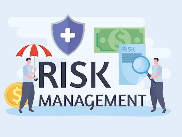 Risikomanagement-schriftzug und geschäftsleute