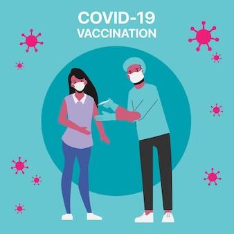 Risikopersonen erhalten den covid-19-impfstoff im krankenhaus.