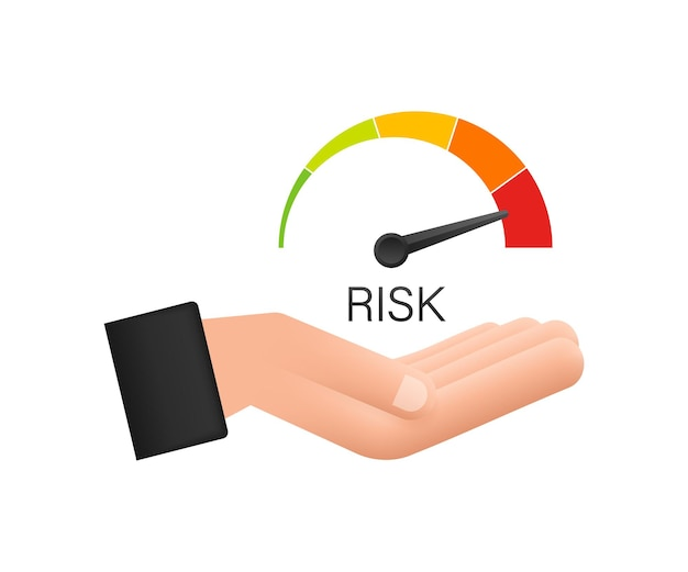 Risikosymbol auf dem tachometer in den händen. messgerät mit hohem risiko. vektorgrafik auf lager.