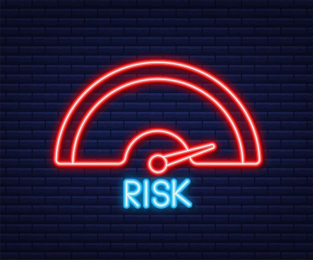 Risikosymbol auf dem tachometer. messgerät mit hohem risiko. neon-symbol. vektor-illustration.