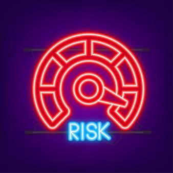 Risikosymbol auf dem tachometer. neon-symbol. messgerät mit hohem risiko. vektor-illustration.