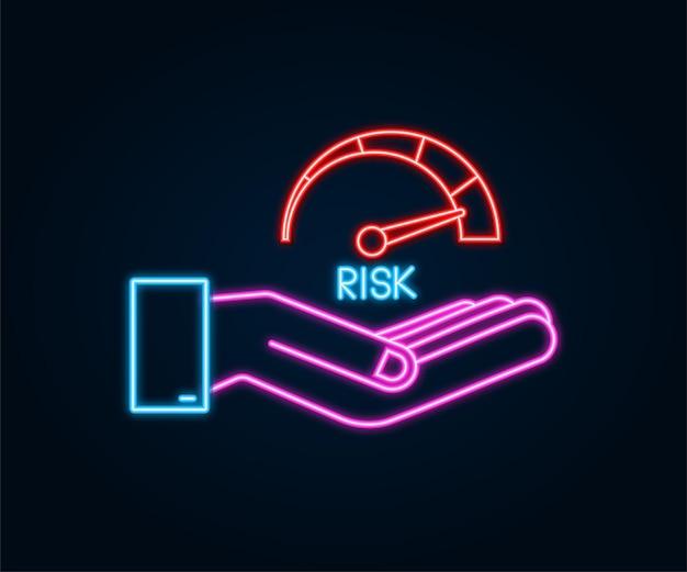 Riskieren sie das neonsymbol auf dem tachometer in den händen. messgerät mit hohem risiko. vektorgrafik auf lager.