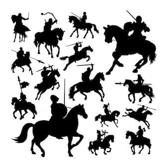 Ritter auf pferd silhouetten