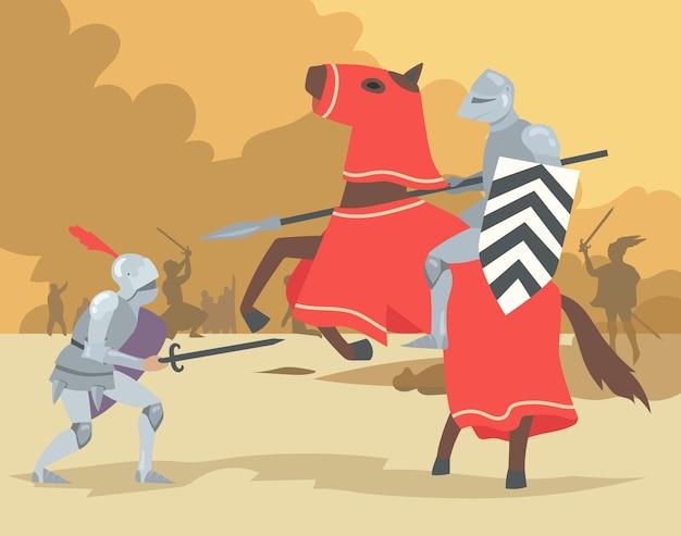 Ritter auf pferd und absteigender kriegerkampf