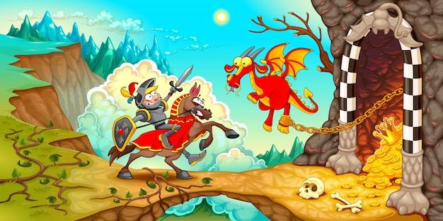 Ritter, der den drachen mit einem schatz bekämpft