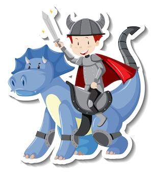 Ritter, der einen drachenkarikaturaufkleber reitet