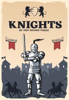 Ritter des runden tischplakats
