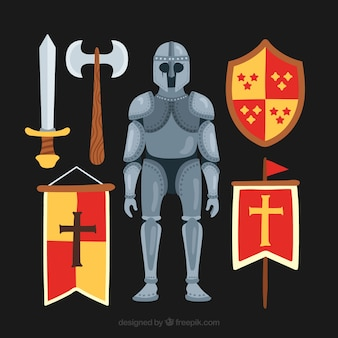 Ritter elemente und rüstungen