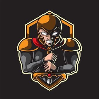 Ritter hält ein schwert maskottchen