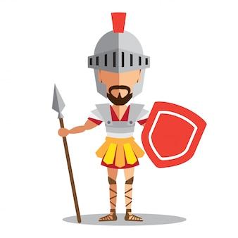 Ritter in rüstung mit schild und schwert