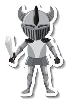 Ritter in rüstung mit schwert-cartoon-aufkleber