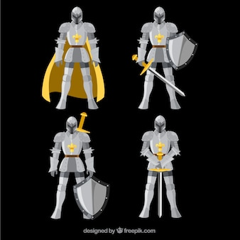 Ritter in verschiedenen positionen
