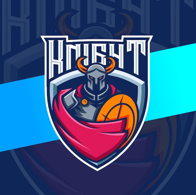 Ritter maskottchen esport logo design