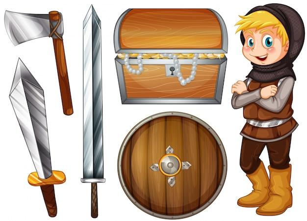 Ritter mit waffen und schatz illustration