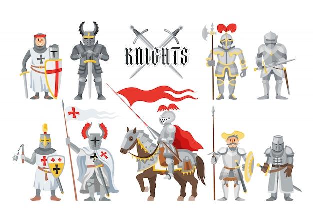 Ritter mittelalterliche ritterschaft und ritterliche charakterleute mit helmrüstung und ritterschwertillustrationssatz des ritterlichkeitsmannes auf pferd auf weißem hintergrund
