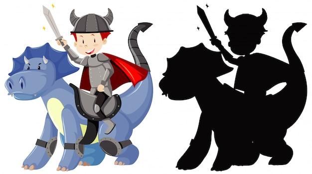 Ritter reitet niedlichen drachen mit schwert in farbe und silhouette