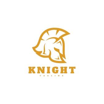Ritter spartan helm kopf silhouette symbol logo design