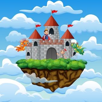 Ritter und drache im palast auf den wolken
