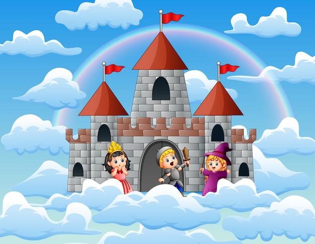 Ritter und hexe vor dem schloss auf den wolken