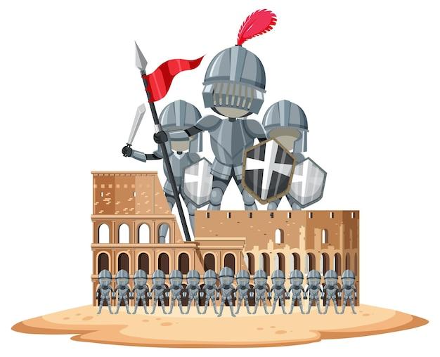 Ritter und kolosseum auf weißem hintergrund