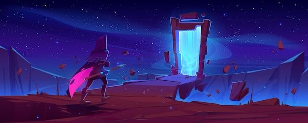 Ritter und magisches portal im steinrahmen auf berglandschaft bei nacht. vektorkarikatur-fantasieillustration mit mann im mittelalterlichen kostüm mit speer und altem bogen mit mystischem blauem schein