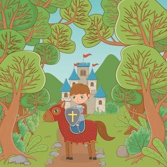 Ritter und pferd im märchendesign