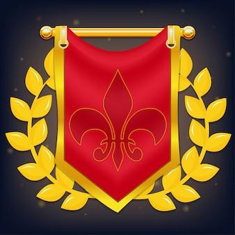 Ritterflagge mit lorbeer und symbol auf goldenem pfosten